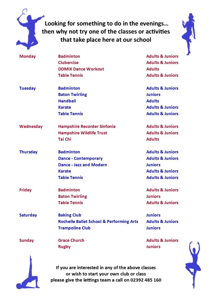 After School Clubs (Lettings) Sept 19